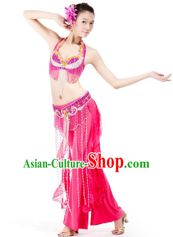 Top Grade Belly Dance Rosy Uniform Indian Raks Sharki Oriental Dance Clothing for Women