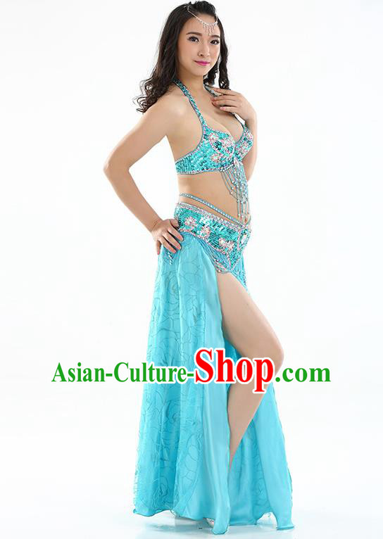 Top Grade Bollywood Belly Dance Blue Dress Indian Raks Sharki Oriental Dance Clothing for Women