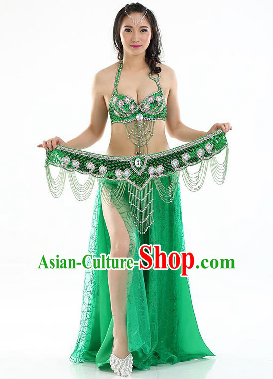Top Grade Bollywood Belly Dance Green Dress Indian Raks Sharki Oriental Dance Clothing for Women