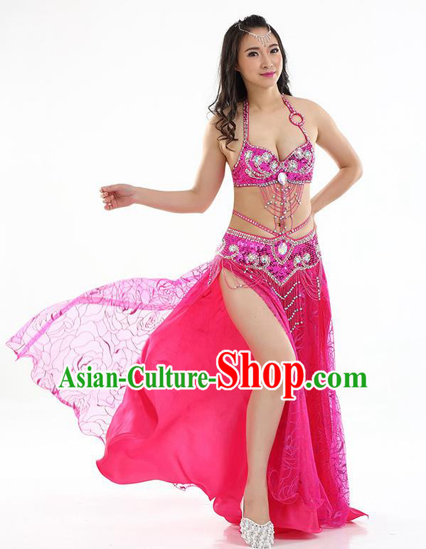 Top Grade Bollywood Belly Dance Rosy Dress Indian Raks Sharki Oriental Dance Clothing for Women