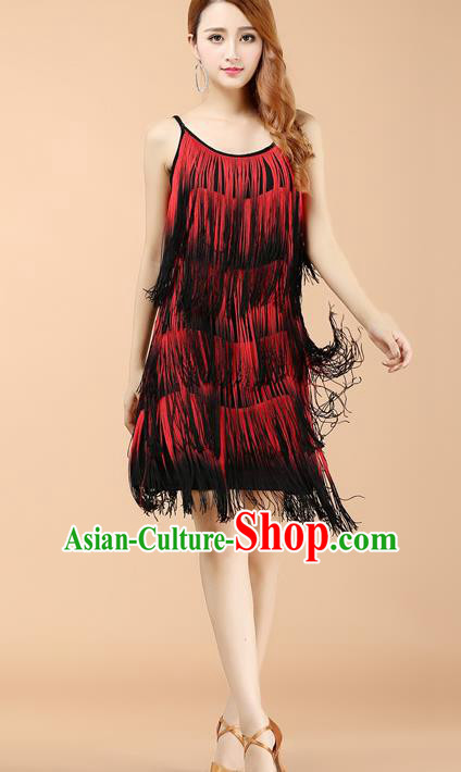 Professional Latin Dance Red Tassel Dress Ballroom Dance Modern Dance Clothing for Women