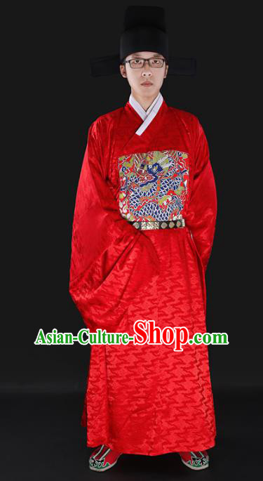 Chinese Ancient Chancellor Bufu Costume Ming Dynasty Minister Clothing for Men