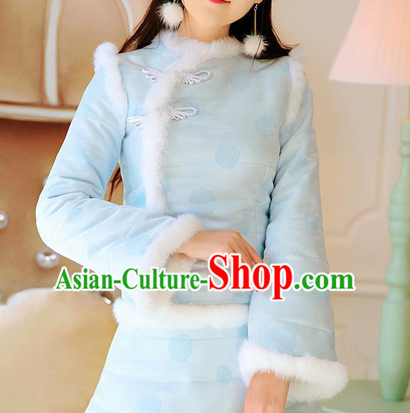 Chinese National Costume Tangsuit Blue Cotton-padded Qipao Blouse Cheongsam Shirts for Women