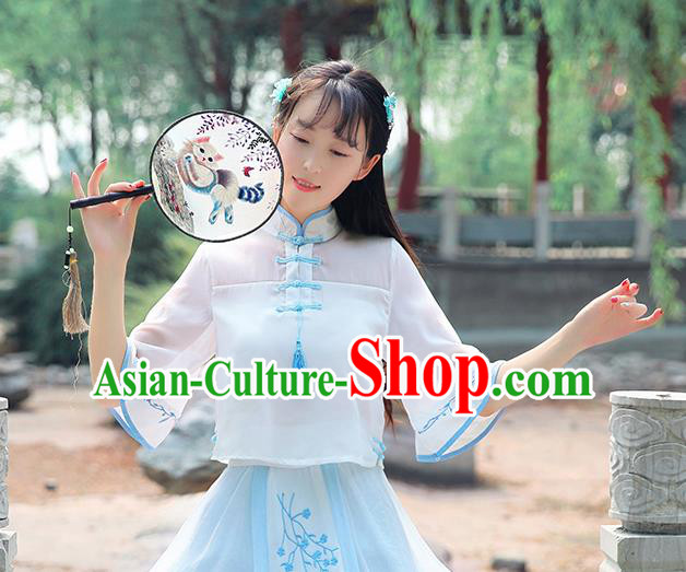 Chinese National Costume Cheongsam Shirts Tangsuit Chiffon Qipao Blouse for Women