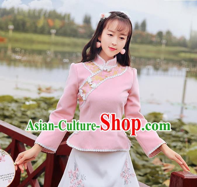 Chinese National Costume Pink Cheongsam Shirts Upper Outer Garment Tangsuit Qipao Blouse for Women
