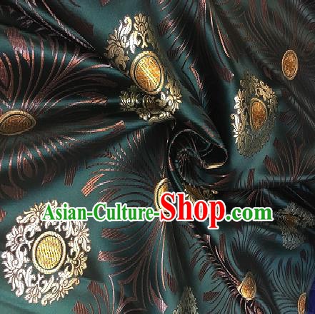 Chinese Traditional Fabric Mongolian Robe Green Brocade Chinese Fabric Asian Tibetan Robe Material