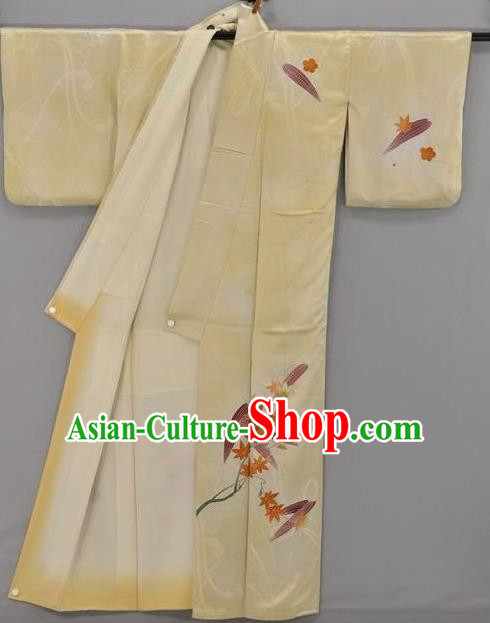 Japan Traditional Costume Yellow Satin Yukata Dress Japanese Furisode Kimono for Women