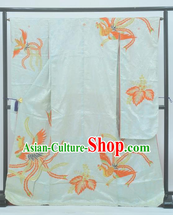 Japan Traditional Kimonos Costume Printing Phoenix White Yukata Dress Japanese Furisode Kimono for Women