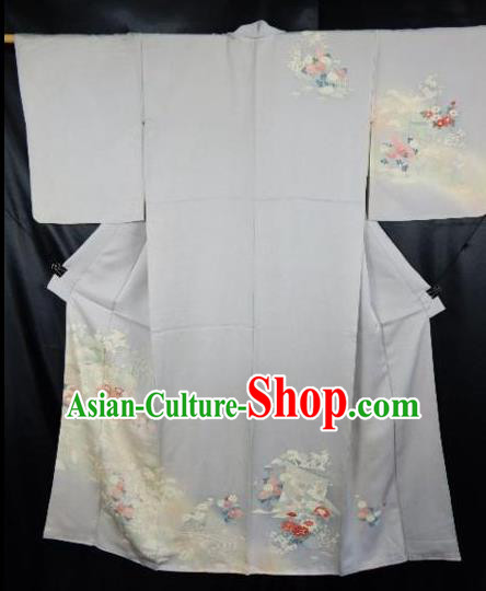 Japan Traditional Kimonos Costume Printing Flowers Yukata Dress Japanese Furisode Kimono for Women