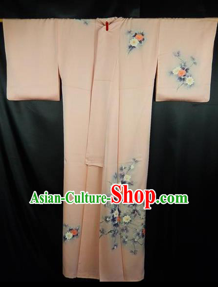 Japan Traditional Kimonos Costume Printing Flowers Pink Yukata Dress Japanese Furisode Kimono for Women