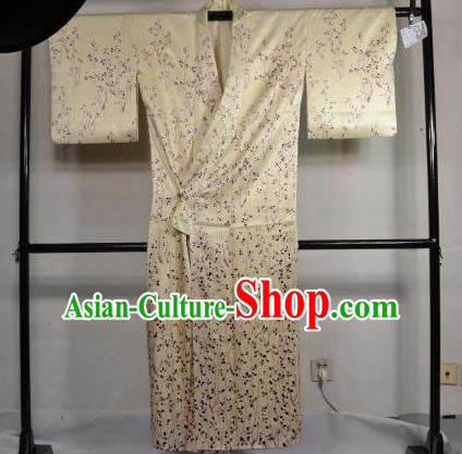 Japan Traditional Kimonos Costume Beige Satin Yukata Dress Japanese Furisode Kimono for Women