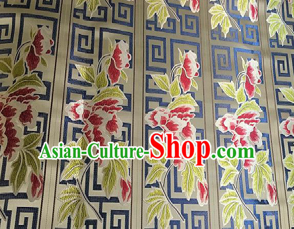 Chinese Traditional Fabric Tang Suit Flowers Pattern Brocade Chinese Fabric Asian Tibetan Robe Material