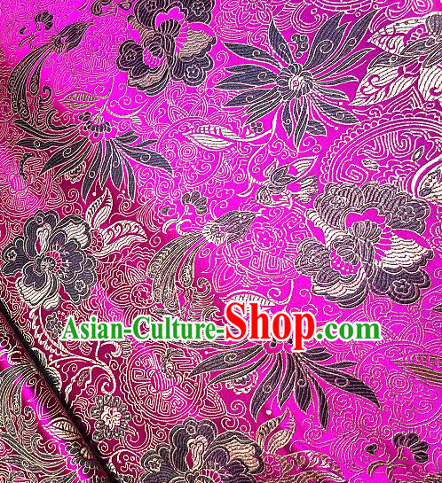 Chinese Traditional Fabric Tang Suit Lotus Pattern Rosy Brocade Chinese Fabric Asian Cheongsam Material