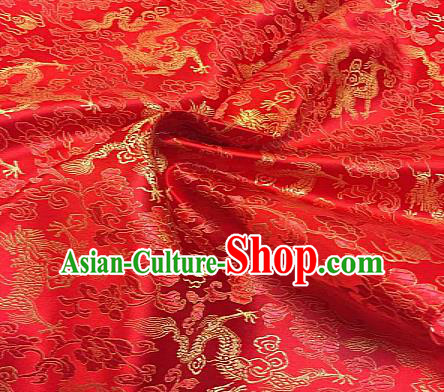 Chinese Traditional Fabric Tang Suit Dragons Pattern Red Brocade Chinese Fabric Asian Cheongsam Material