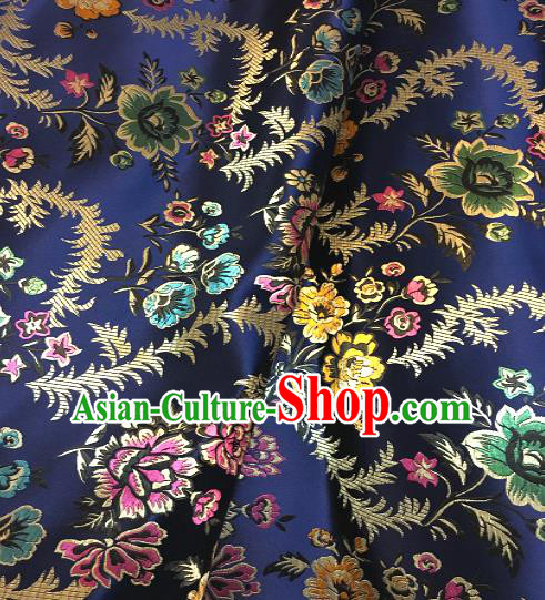 Chinese Traditional Fabric Tang Suit Royalblue Brocade Chinese Fabric Asian Cheongsam Material
