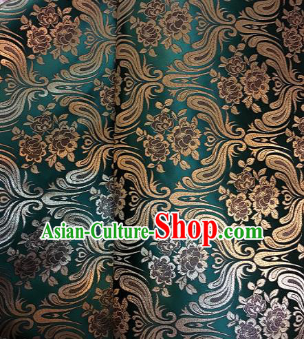 Chinese Traditional Fabric Tang Suit Mongolian Robe Green Brocade Chinese Fabric Asian Cheongsam Material