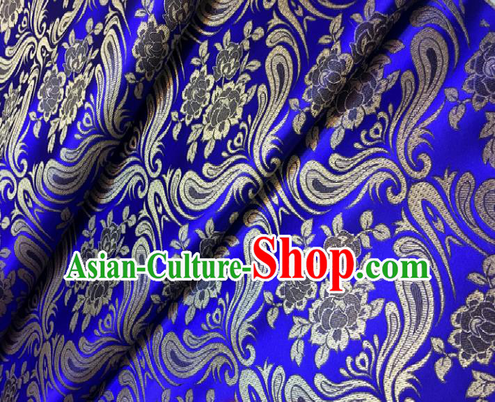 Chinese Traditional Fabric Tang Suit Mongolian Robe Royalblue Brocade Chinese Fabric Asian Cheongsam Material