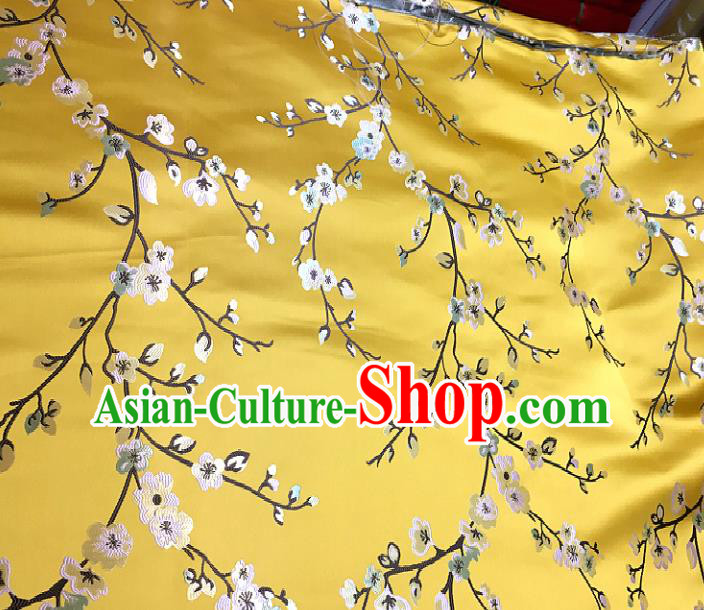 Chinese Traditional Fabric Tang Suit Plum Blossom Pattern Yellow Brocade Chinese Fabric Asian Cheongsam Material
