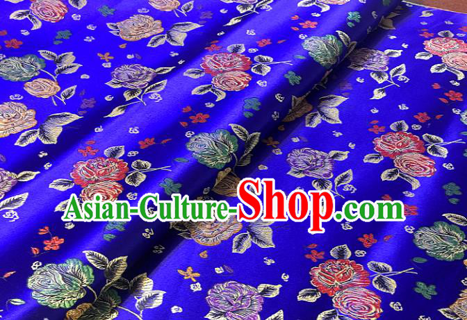 Chinese Traditional Fabric Tang Suit Rose Pattern Royalblue Brocade Chinese Fabric Asian Cheongsam Material