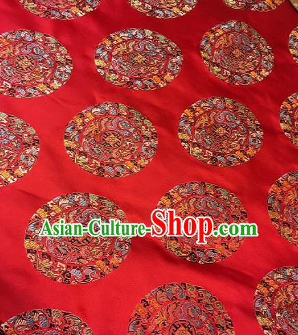 Chinese Traditional Fabric Palace Dragons Pattern Design Red Brocade Chinese Fabric Asian Material