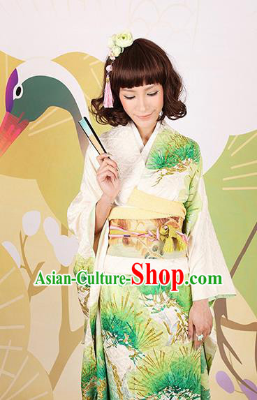 Traditional Asian Japan Wedding Costume Japanese Apparel Green Yukata Dress Furisode Kimono for Women