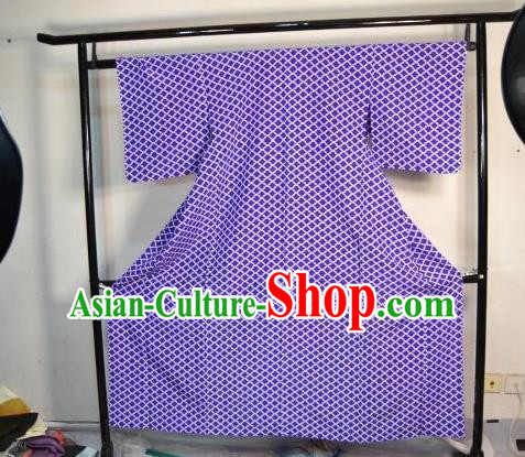 Japan Traditional Kimonos Costume Asian Japanese Purple Yukata Dress Furisode Kimono for Women
