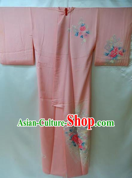 Traditional Japan Palace Costume Pink Dress Furisode Kimono Japanese Yukata for Women