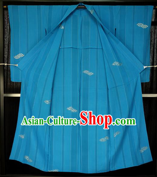 Japanese Traditional Kimono Blue Robe Japan Haori Apparel Yukata Costume for Men