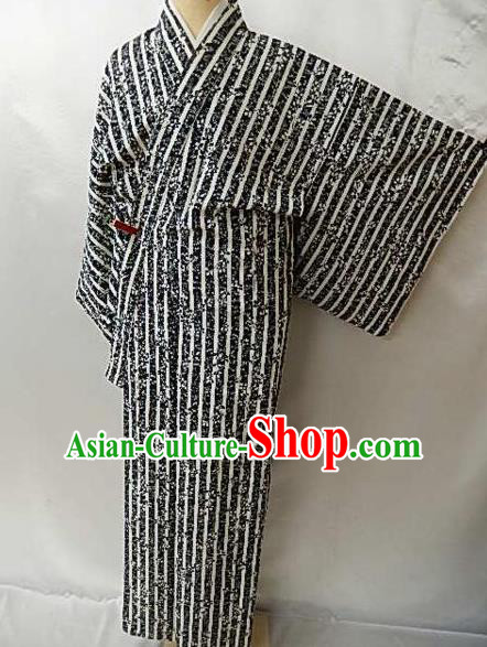 Japanese Traditional Black Yukata Robe Japan Samurai Haori Kimono Clothing for Men