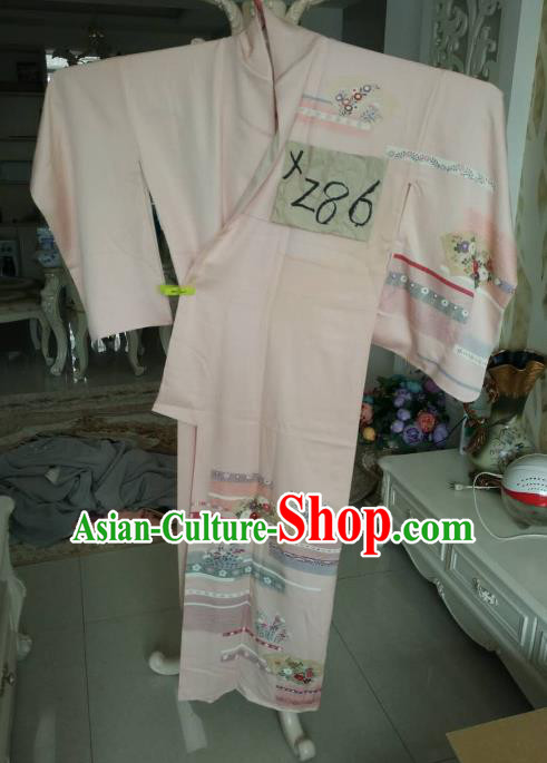 Traditional Japan Costume Female Pink Furisode Kimono Japanese Geisha Yukata Dress for Women