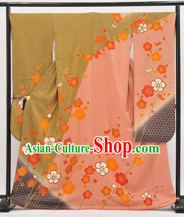 Japan Traditional Formal Costume Pink Furisode Kimono Japanese Yukata Dress for Women