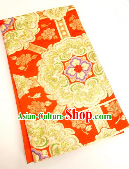 Traditional Japanese Ancient Kimonos Embroidered Red Brocade Belts Yukata Waistband for Women