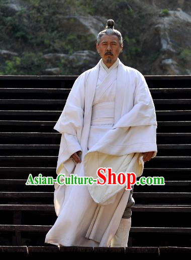 Chinese Ancient Spring and Autumn Period Military Counsellor Hanfu Costume for Men