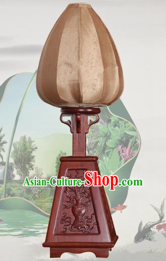 Handmade Traditional Chinese Lantern Desk Lamp Brown Silk Lanern New Year Lantern