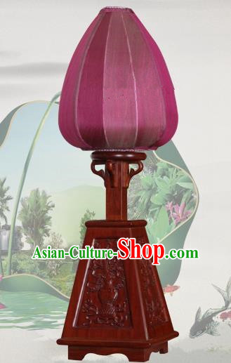 Handmade Traditional Chinese Lantern Desk Lamp Purple Silk Lanern New Year Lantern