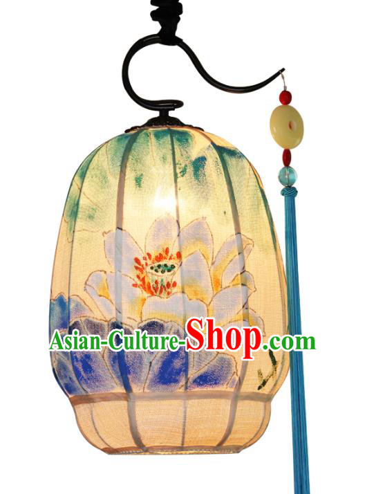 Handmade Traditional Chinese Lantern Ceiling Lanterns Hand Painting Lotus Lanern New Year Lantern