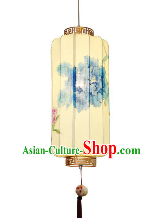 Handmade Traditional Chinese Linen Lantern Ceiling Lanterns Hand Painting Peony Lanern New Year Lantern