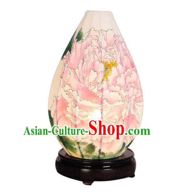 Handmade Traditional Chinese Lantern Desk Lamp Painting Peony Lantern