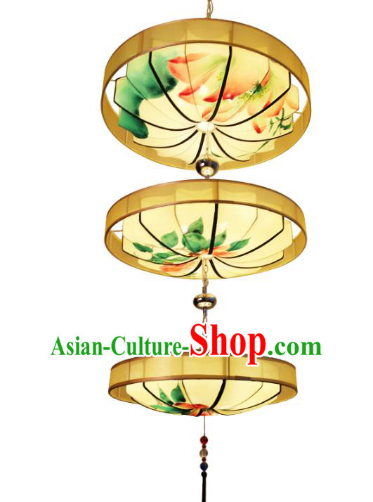 Handmade Traditional Chinese Ancient Lantern Ceiling Lanterns Hand Painting Lotus Lanern