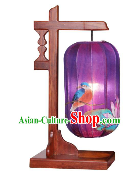 Handmade Traditional Chinese Lantern Wood Desk Lamp Hand Painting Lotus Lantern