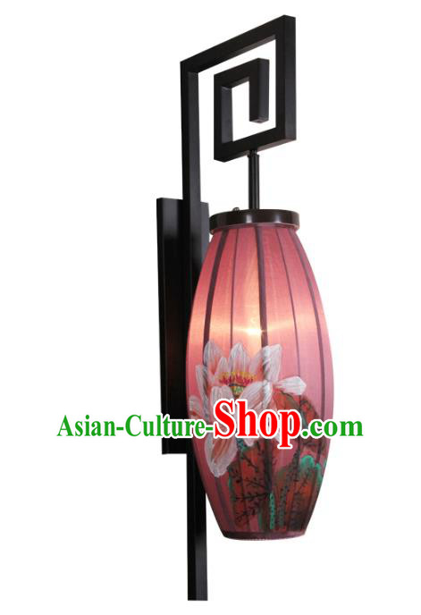 Handmade Traditional Chinese Lantern Wall Lamp Hand Painting Lotus Lantern