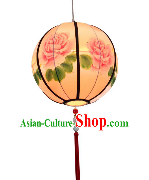 Traditional Chinese Ancient Palace Printing Peony Lantern Ceiling Lanterns Hanging Lanern