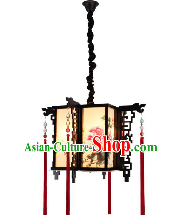 Traditional Chinese Ancient Palace Lantern Printing Peony Ceiling Lanterns Hanging Lanern