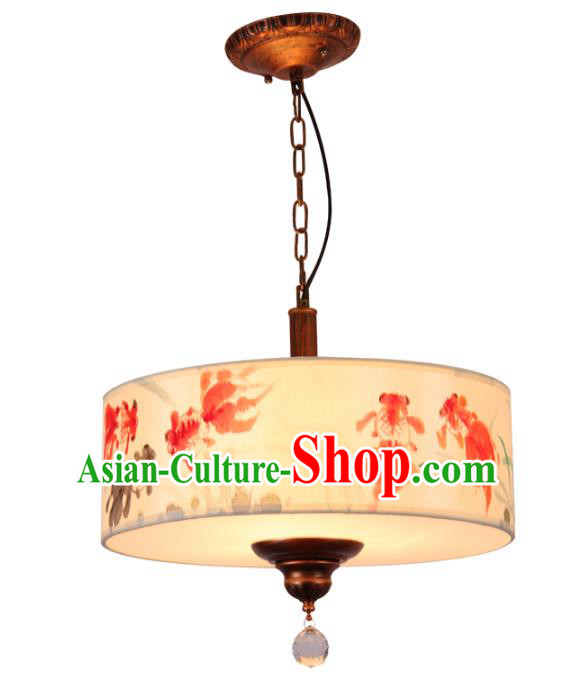 Traditional Chinese Ancient Palace Lantern Printing Goldfish Ceiling Lanterns Hanging Lanern