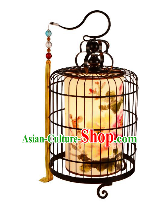 Traditional Chinese Ancient Palace Lantern Printing Peony Iron Ceiling Lanterns Hanging Lanern