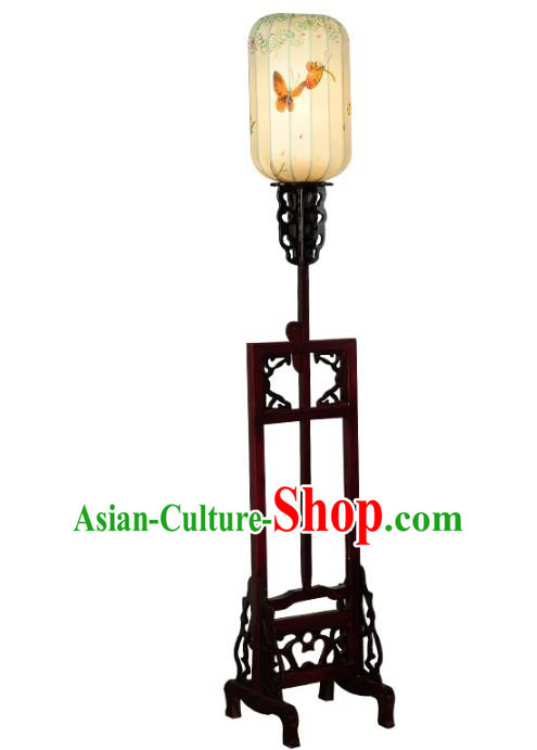 Handmade Traditional Chinese Lantern Floor Lamp Printing Butterfly Palace Lantern