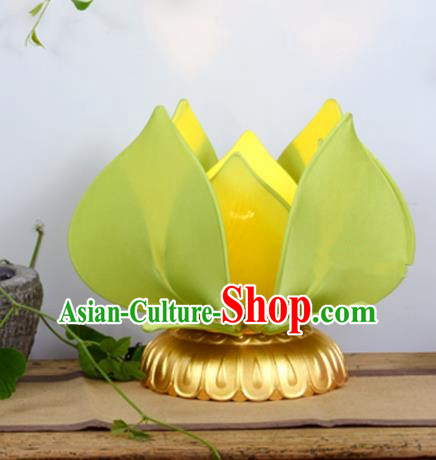 Handmade Traditional Chinese Lantern Green Lotus Desk Lamp Palace Lantern Buddha Lantern