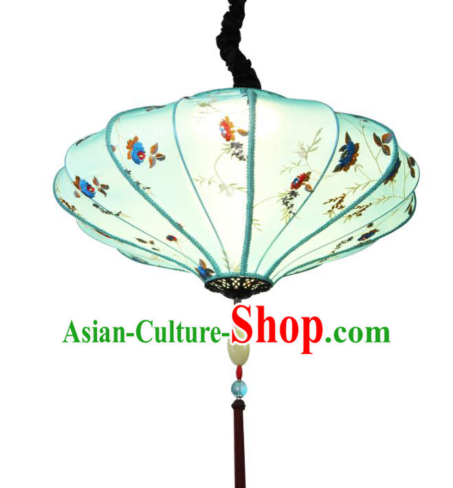 Traditional Chinese Ancient Palace Lantern Embroidered Lotus Ceiling Lanterns Hanging Lanern