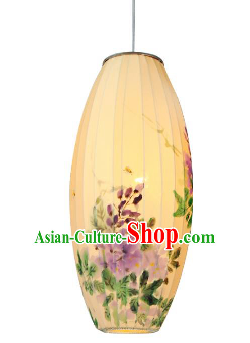 Traditional Chinese Ancient Palace Lantern Hand Painting Purple Flowers Ceiling Lanterns Hanging Lanern