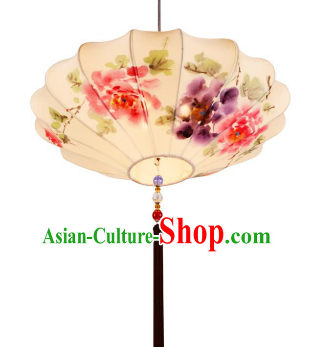 Traditional Chinese Ancient Palace Lantern Painting Peony Lotus Ceiling Lanterns Hanging Lanern